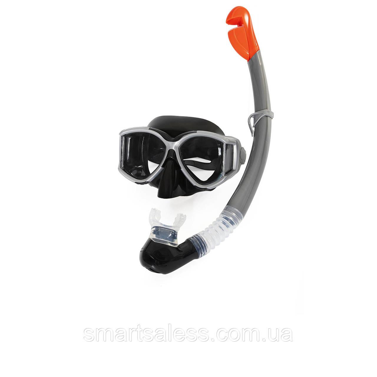 Набор 2 в 1 для плавания Bestway 24050 (маска: размер L, (14+), обхват головы ≈ 54-65 см, трубка), черный