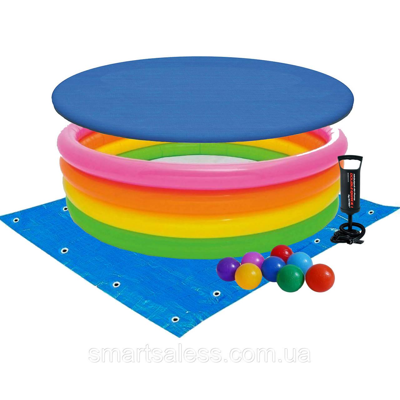 Детский надувной бассейн Intex 56441-3 «Радуга», 168 х 46 см, с шариками 10 шт, тентом, подстилкой и насосом