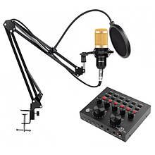 Микрофон студийный M-800 со внешней звуковой картой V8 BT 7633
