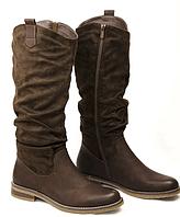 Коричневі жіночі демісезонні чоботи до коліна, фото 1