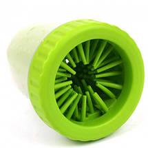 Лапомойка Lapomover Soft Gentle bol маленька з силіконовими ворсинками для очищення лап зелена, фото 2