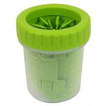 Лапомойка Lapomover Soft Gentle bol маленька з силіконовими ворсинками для очищення лап зелена, фото 3