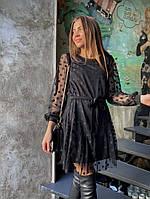 Женское стильное приталенное платье с рукавом сеткой