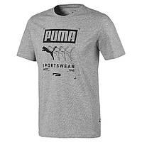 Футболка мужская спортивная Puma Box Tee 581908 03 (серая, хлопок, на каждый день, логотип пума)