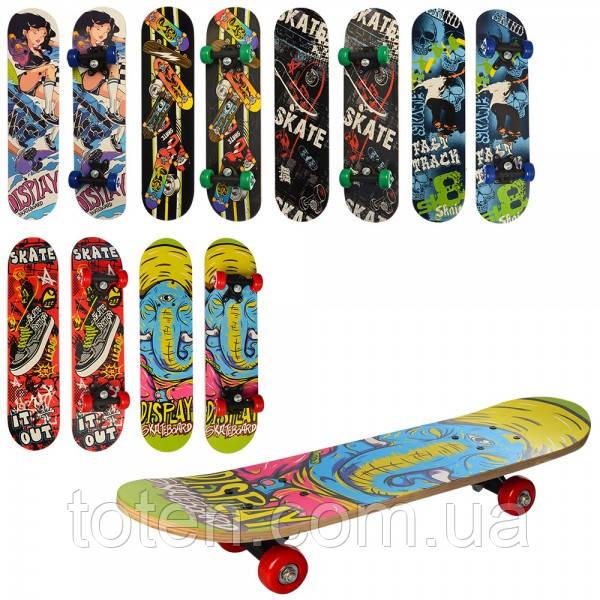 Дерев'яний Скейтборд 60-15 см MS 0323-3, пластикова підвіска, колеса ПВХ ,6 видів