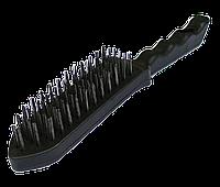 Щітка металева з пластмасовою ручкою 6-рядна чорна, фото 1