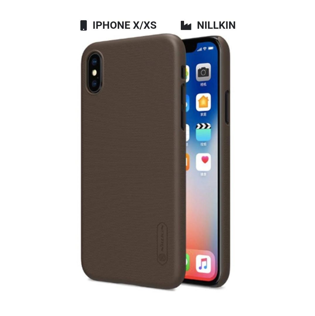 Захисний чохол Nillkin для Apple iPhone X / iPhone XS Frosted Shield Series + захисна плівка Brown