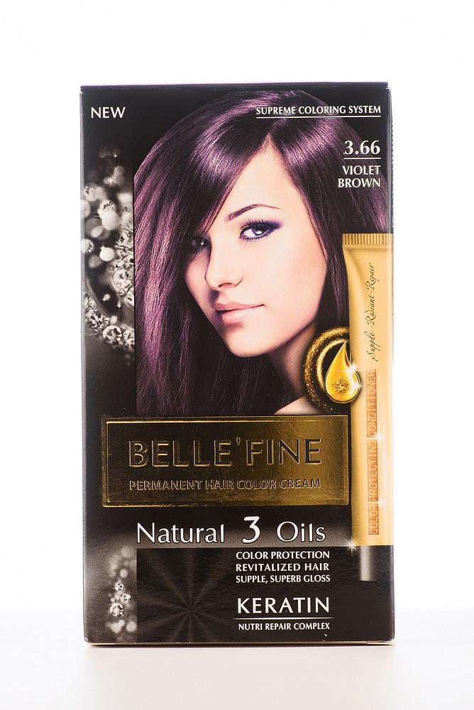 BELLE'FINE Фарба для волосся 3.66 Фіолетово-коричневий