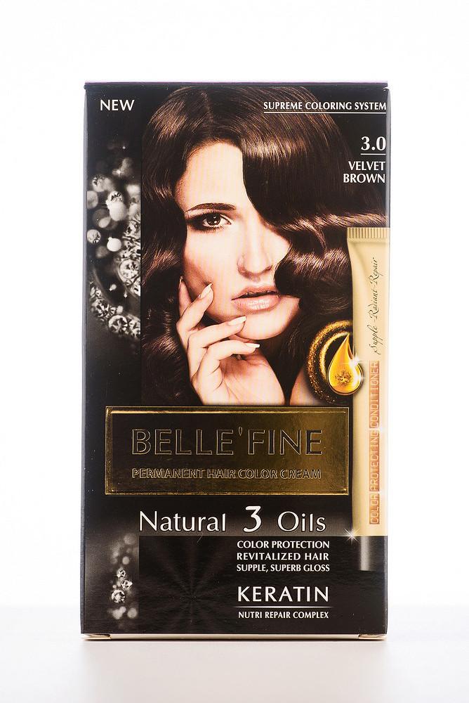 BELLE'FINE Фарба для волосся 3.0 Бархатисто-коричневий