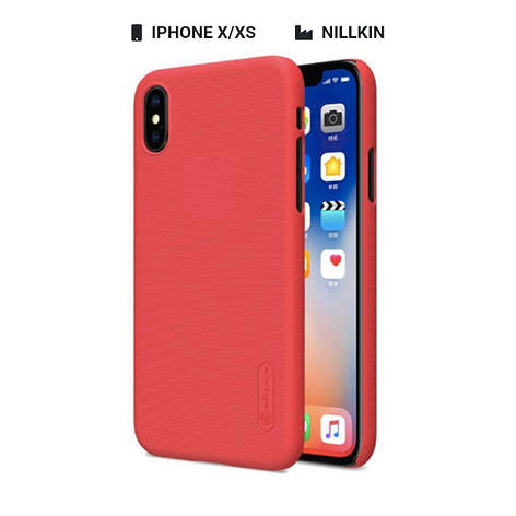Захисний чохол Nillkin для Apple iPhone X / iPhone XS Frosted Shield Series + захисна плівка Red, фото 2