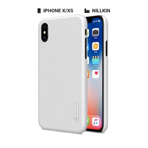 Захисний чохол Nillkin для Apple iPhone X / iPhone XS Frosted Shield Series + захисна плівка White, фото 2