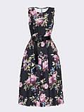Принтованное платье без рукавов в цветочном принте черное, фото 6