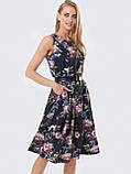 Принтованное платье без рукавов в цветочном принте черное, фото 3