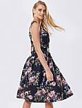 Прінтована плаття без рукавів в квітковому принте чорне, фото 4
