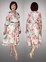 Платье большого размера шифоновое FREDOM 615 белое в цветы