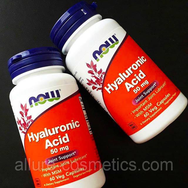 Гіалуронова кислота 50 мг Now Foods Hyaluronic Acid 60 рослинних капсул