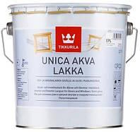 Лак для деревянных окон и дверей полуглянцевый Tikkurila Unica Akva Lakka 2,7 л