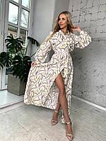 Женское стильное длинное летнее платье на запах под пояс