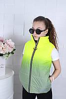Демисезонная подростковая светоотражающая жилетка для девочек 9-14 лет,салатового цвета