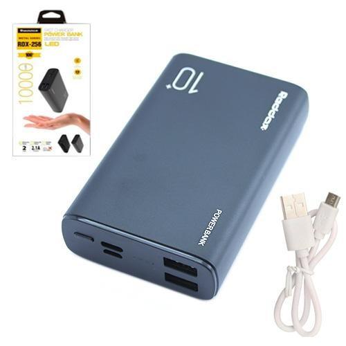 Power Bank Зовнішній акумулятор 10000мАч 2xUSB Reddax RDX-256, чорний