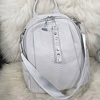 Жіночий шкіряний рюкзак polina eiterou принт крокодил