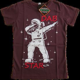 Подростковая футболка Космонавт, рисунок светится в темноте, марсала (размер 38-44)