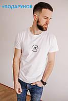 Мужская белая футболка брендовая с логотипом из хлопка