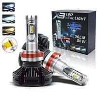 Cветодиодные X3 philips LED лампы H11 50W 12000LM 9-32В
