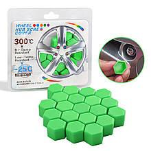 Защитные силиконовые колпачки на колесные гайки 21 мм зеленые