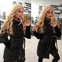 Зимняя куртка с поясом черного цвета