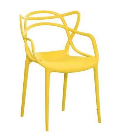Пластиковий стілець SDM Мастерс жовтий з підлокітниками