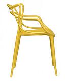 Пластиковий стілець SDM Мастерс жовтий з підлокітниками, фото 2