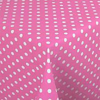 Скатерть Розовая в белый горох 120х180 см