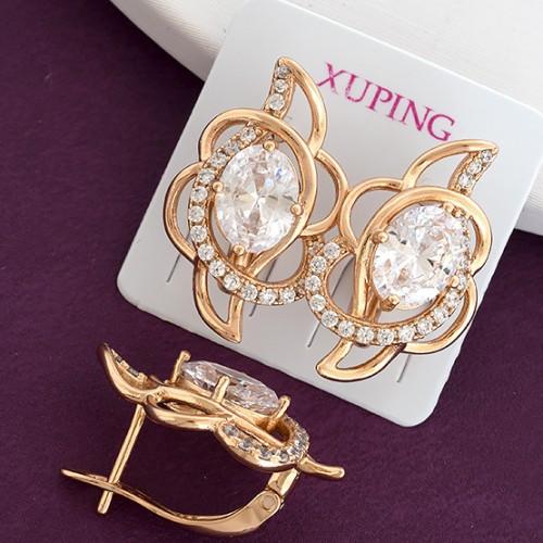 Серьги Xuping длина 2.1см медицинское золото позолота 18К белый цирконий с1230