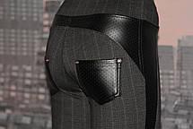 Леггинсы-брюки женские с вставками из кожзама,   р 44, фото 2
