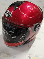 Шлем мотоциклетный открытый красный+очки M-L (56-61) AK-720