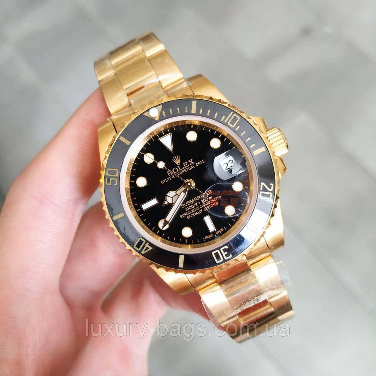 Годинник Ролекс Rolex Submariner AAA Date Gold-Black