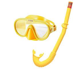 Набір 2 в 1 для плавання Intex 55642 (маска 55916: розмір M, (8+), обхват голови ≈ 50-56 см, трубка 55922),