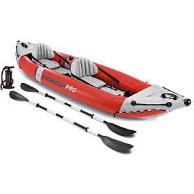 Двомісна надувна байдарка (каяк) Intex 68309 Excursion Pro, 384 х 94 см, з веслами і насосом