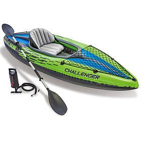 Одномісна надувна байдарка (каяк) Intex 68305 Challenger K1, 274 х 76 см, з веслами і насосом
