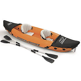 Двомісна надувна байдарка (каяк) Bestway 65077 Lite-Rapid X2 Kayak, 321 см x 88 см, з веслами, помаранчева