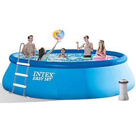 Надувний басейн Intex 26166, 457 х 107 см (3 785 л/год, сходи, тент, підстилка)