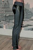 Леггинсы-брюки джинс с вставками из кожзама р 42-50