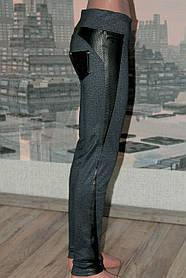 Леггинсы-брюки джинс с вставками из кожзама р 42,44