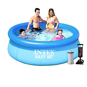 Надувний басейн Intex 28110 - 4, 244 х 76 см (2 006 л/год, підстилка, тент, насос)