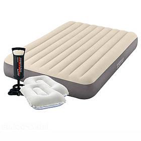 Надувний матрац Intex 64102-2, 137 х 191 х 25 см, з двома подушками, насосом. Полуторний