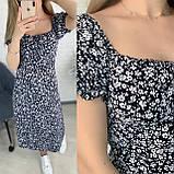 Летнее черное приталенное платье с разрезом 26-429-2, фото 6