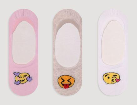 Набор 3 шт. Детские невидимые носки - следки Bross с рисунком