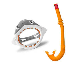 Набір 2 в 1 для плавання Intex 55944 «Акула», (маска 55915: розмір S, (3+), обхват голови ≈ 50 см, трубка