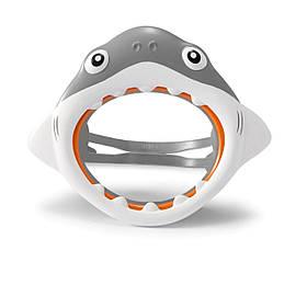 Маска для плавання Intex 55915 «Акула», розмір S, (3+), обхват голови ≈ 50 см, сірий